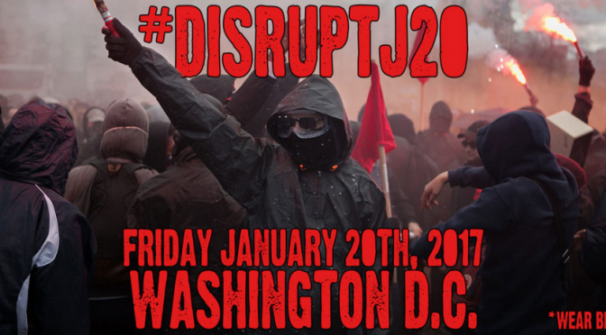 Plakaty antyfaszystowskie przeciwko amerykańskiej prawicy – akcja #J20
