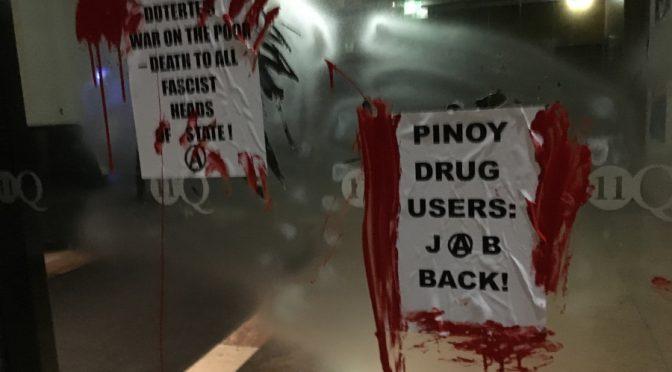 Australia, Melbourne: Symboliczny atak na konsulat Filipin w proteście przeciwko antynarkotykowej kampanii Duterte