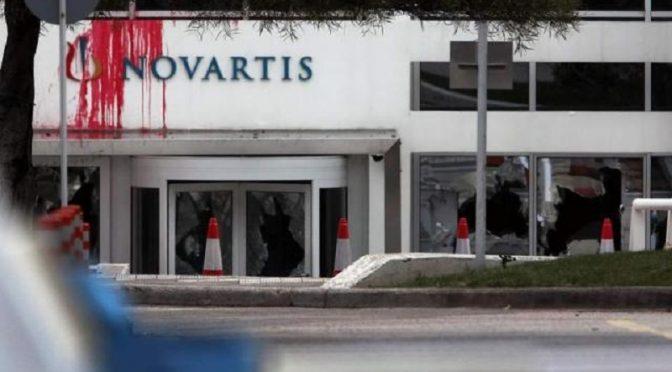 Ateny, Grecja: Atak na siedzibę Novartis dokonany przez kolektyw Rouvikonas (wideo)