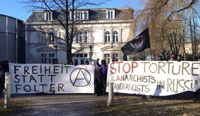 Greifswald, Niemcy: Akcja solidarnościowa dla anarchistów i antyfaszystów w Rosji
