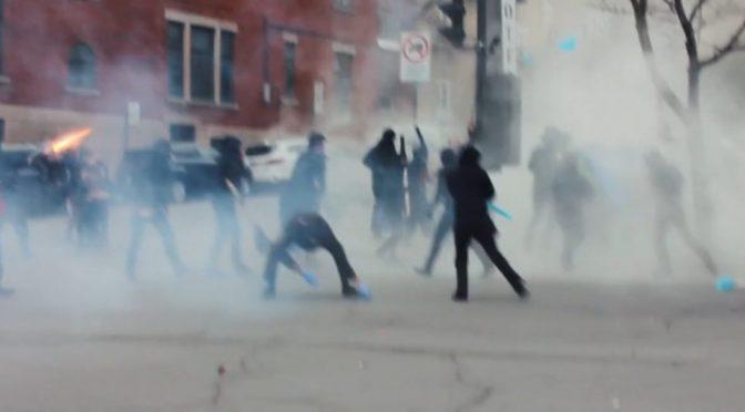 Montreal, Kanada: Anarchiści atakuja policję – maj 2018 (wideo)