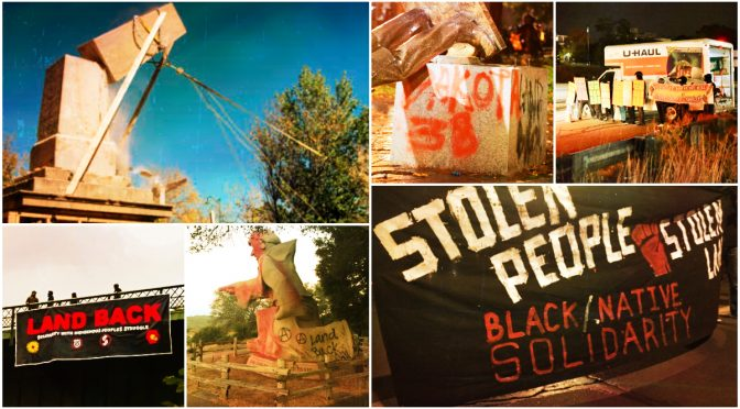 tzw. U$A: Kolonialne pomniki upadają gdy Dzień Gniewu Rdzennej Ludności przechodzi przez ulice
